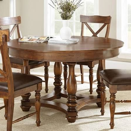 Bineau 35'' Pedestal Dining Tables Throughout Popular Steve Silver Wyndham Round Dining Table In Distressed (View 22 of 25)