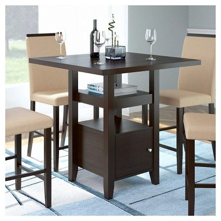 """Bistro 36"""" Counter Height Dining Table With Cabinet Wood Pertaining To Popular Menifee 36'' Dining Tables (View 22 of 25)"""