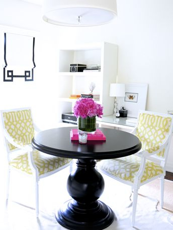 Bold Yellow And Black Dining Area With Glossy Black With Regard To Widely Used Wilkesville 47'' Pedestal Dining Tables (View 24 of 25)