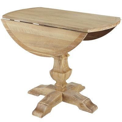 Boothby Drop Leaf Rubberwood Solid Wood Pedestal Dining Tables Within Well Known Bradding Natural Stonewash Round Dining Tables (View 24 of 25)
