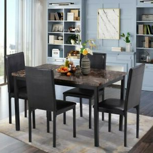 Brown 5pc Kitchen Dining Table Set Faux Marble Dinette 4 Regarding Well Liked Benji 35'' Dining Tables (View 14 of 25)