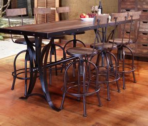 Bushrah Counter Height Pedestal Dining Tables For Favorite Antique Multicolor Counter Height Dining Table With Iron Base (View 22 of 25)