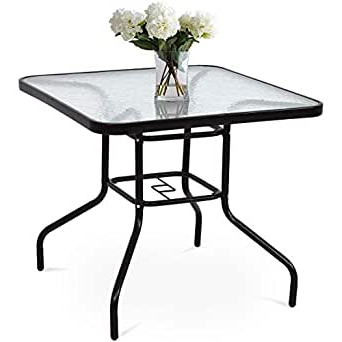 """Cainsville 32'' Dining Tables Throughout Favorite Amazon : Tangkula 32"""" Patio Table Tempered Glass Top (View 15 of 25)"""