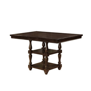 Charterville Counter Height Pedestal Dining Tables With Most Up To Date Solid Wood Counter Height Dining Table With Two Open Shelf (View 15 of 25)