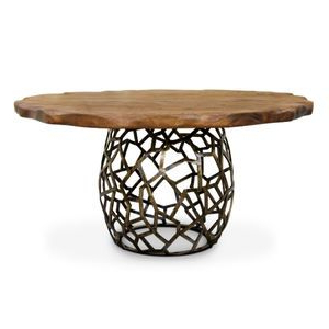 Contemporary Dining Table / Wooden / Brass / Round Pertaining To Well Known Yaqub 39'' Dining Tables (View 21 of 25)