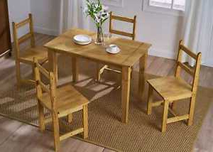 Corona Solid Pine Wood Dining Table And Chairs Set 2/4 Inside Well Liked Reagan Pine Solid Wood Dining Tables (View 20 of 25)