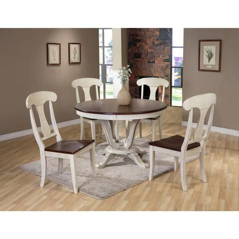 Corvena 48'' Pedestal Dining Tables Inside Widely Used Napoleon Oak Wood And Distressed White Pedestal Base Fixed (View 25 of 25)