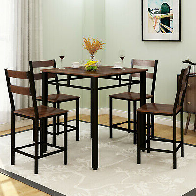 Counter Height Dining Tables Pertaining To Most Up To Date Counter Height Dining Set 5 Piece Wood Chairs And Table W (View 19 of 25)