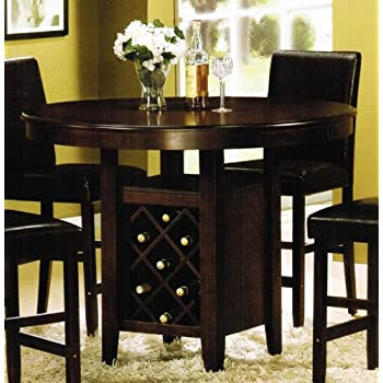 Counter Height Pedestal Dining Tables For Recent Amazon – Counter Height Dining Table With Wine Rack (View 14 of 25)