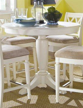 Counter Height Pedestal Dining Tables Inside Well Liked American Drew Camden Buttermilk 42'' Round Counter Height (View 12 of 25)