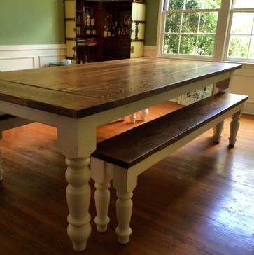 Country Farmhouse Dining Table With Oversized Spun Legs Intended For Fashionable Getz 37'' Dining Tables (View 11 of 25)