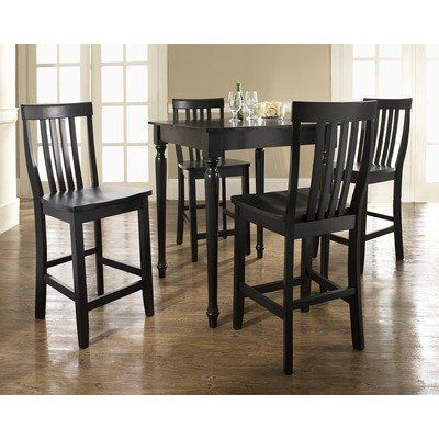 Crosley Kd520011bk Five Piece Pub Dining Set With Turned Intended For Trendy Baring 35'' Dining Tables (View 21 of 25)