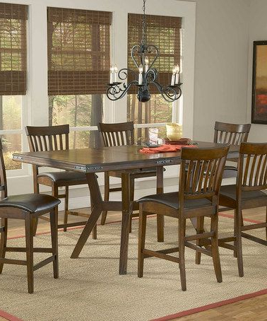 Current Bar Height Pedestal Dining Tables With Counter Height Seven Piece Arbor Hill Dining Set (View 22 of 25)