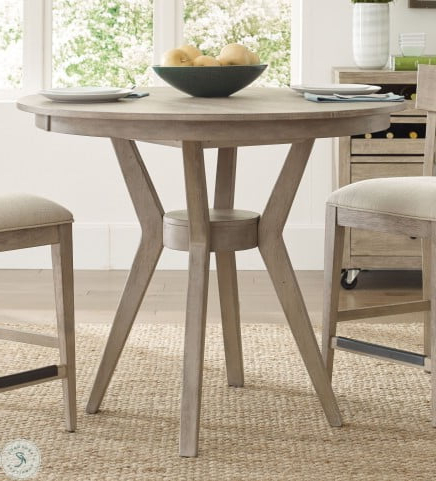 """Current Desloge Counter Height Trestle Dining Tables Regarding The Nook Heathered Oak 44"""" Round Counter Height Dining (View 5 of 25)"""