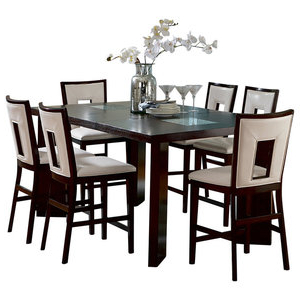 Current Homelegance Bayshore 7 Piece Counter Height Table Set With Regarding Barra Bar Height Pedestal Dining Tables (View 19 of 25)