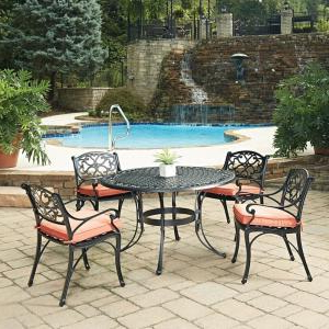 Current Homestyles Sanibel Black 5 Piece Cast Aluminium Outdoor Pertaining To Nottle (View 22 of 25)