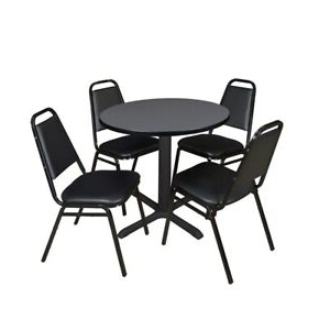 """Current Round Breakroom Tables And Chair Set Inside Cain 30"""" Round Breakroom Table Grey & 4 Restaurant Stack (View 20 of 25)"""