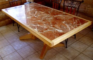 Custom Made Curly Maple And Marble Dining Table Within Most Popular Tylor Maple Solid Wood Dining Tables (View 19 of 25)