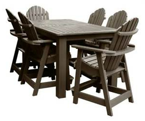 Dallin Bar Height Dining Tables Inside Favorite 7 Pc Outdoor Counter Height Dining Table Set In Weathered (View 16 of 25)