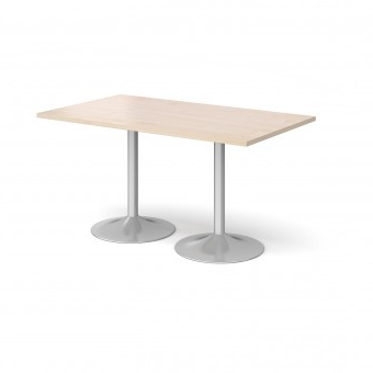 Dams Genoa Rectangular Dining Table With Silver Trumpet Pertaining To Well Known Gaspard Maple Solid Wood Pedestal Dining Tables (View 6 of 25)