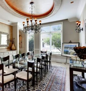 Dellaney 35'' Iron Dining Tables Inside 2019 Tinted Amber Glass Iron Chandelier W/ Matching Scones (View 24 of 25)
