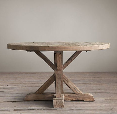 Distressed Elm Belgian Trestle Round Dining Table With Most Recently Released Leonila 48'' Trestle Dining Tables (View 15 of 25)