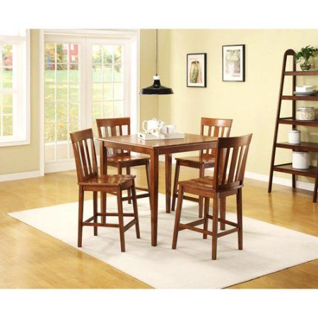 Dixon 29'' Dining Tables In Fashionable Mainstays 5 Piece Counter Height Dining Set, Warm Cherry (View 8 of 25)