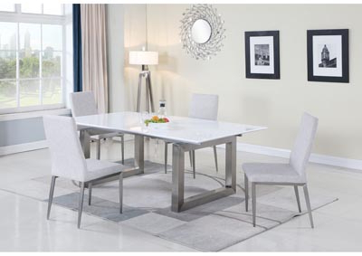 Ebony White & Grey Dining Set W/ Extendable Table & 4 Gray Inside Latest Desiree (View 3 of 25)