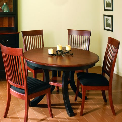 Eleni 35'' Dining Tables Inside Famous Round Harrison Amish Dining Table – Two Skirted Leaves (View 14 of 25)