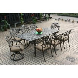 """Elisabeth Cast Aluminum 9pc Patio Dining Set With 44""""x84 Intended For Most Recently Released Cainsville 32'' Dining Tables (View 19 of 25)"""