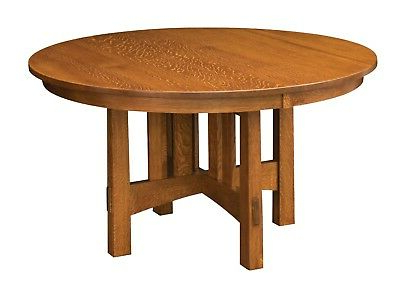 Exeter 48'' Pedestal Dining Tables Throughout Most Popular Amish Mission Craftsman Round Pedestal Dining Table Solid (View 18 of 25)