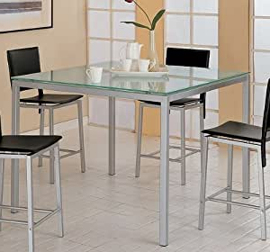Famous Amazon – Modern Contemporary Frosted Glass Counter Regarding Eduarte Counter Height Dining Tables (View 12 of 25)