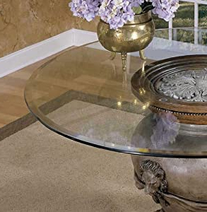 Famous Amazon: Powell 48 Inch Round Glass Table Top 10mm With With Steven 55'' Pedestal Dining Tables (View 20 of 25)