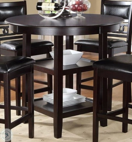 Famous Dallin Bar Height Dining Tables In Gia Ebony 5 Piece Counter Height Dining Table Set From New (View 2 of 25)