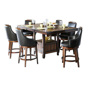 Famous Homelegance Bayshore 7 Piece Counter Height Table Set With Intended For Bushrah Counter Height Pedestal Dining Tables (View 9 of 25)