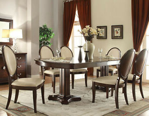 Famous Kirt Pedestal Dining Tables Intended For New 7pc Gizela Elegant Cherry Finish Wood Double Pedestal (View 22 of 25)