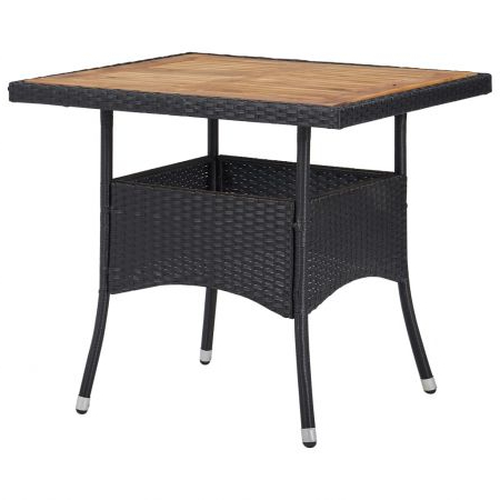 Famous Outdoor Dining Table Black Poly Rattan And Solid Acacia For Folcroft Acacia Solid Wood Dining Tables (View 12 of 25)