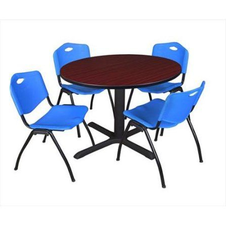Famous Round Breakroom Tables And Chair Set In Cain 48 Inch Mahogany Round Breakroom Table And 4 'm (View 2 of 25)