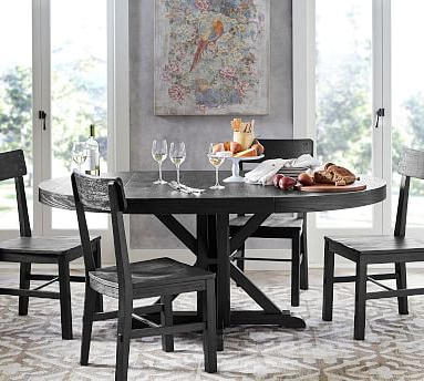 Fashionable Benchwright Round Pedestal Extending Dining Table Throughout Serrato Pedestal Dining Tables (View 14 of 25)