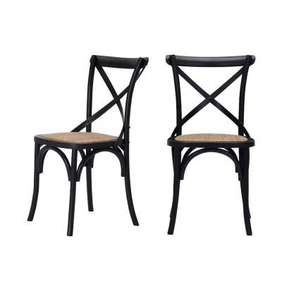 Fashionable Mavery Black Wood Dining Chair With Cross Back And Woven With Regard To (View 17 of 25)