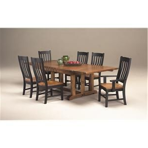 Fashionable Rustic Mission Refectory Dining Table With One Curved Slat With Regard To Steven 39'' Dining Tables (View 9 of 25)