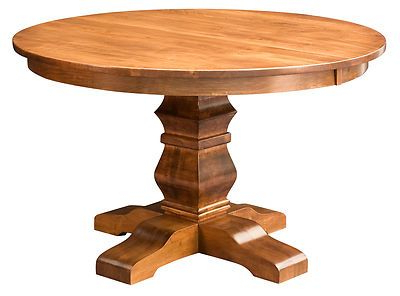 Favorite Amish Round Pedestal Dining Table Solid Wood Rustic Throughout Gaspard Extendable Maple Solid Wood Pedestal Dining Tables (View 5 of 25)