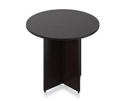 Favorite Collis Round Glass Breakroom Tables Intended For Sl36r Ael Round Conference Table With Espresso Finish (View 8 of 25)