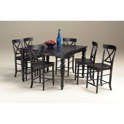 Favorite Roanoke Rubbed Black Counter Height 5 Piece Dining Set Regarding Wes Counter Height Rubberwood Solid Wood Dining Tables (View 11 of 25)