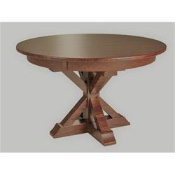 Favorite X Base Single Pedestal Round 48 Inch Table Within Monogram 48'' Solid Oak Pedestal Dining Tables (View 18 of 25)