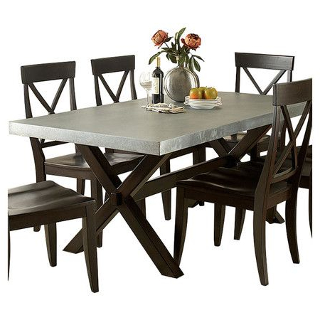 Featuring A Trestle Base And Sleek Silhouette, This Chic With Regard To Most Recent Trestle Dining Tables (View 8 of 25)