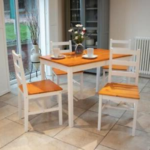 Febe Pine Solid Wood Dining Tables In Widely Used White Solid Pine Wood 5 Piece Wooden Dining Kitchen Table (View 4 of 25)