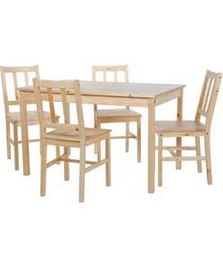Febe Pine Solid Wood Dining Tables Pertaining To 2019 Richmond Solid Pine Dining Table And 4 Chairs (View 12 of 25)