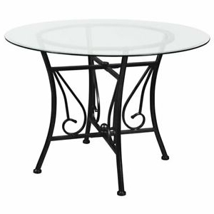 """Flash Furniture Princeton 42"""" Round Glass Top Dining Table Intended For 2020 Darbonne 42'' Dining Tables (View 3 of 25)"""