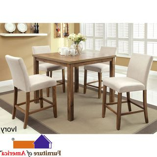 Furniture Of America Seline Weathered Elm 5 Piece 42 Inch In Favorite Overstreet Bar Height Dining Tables (View 14 of 25)